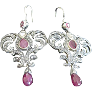 Exceptional Vintage 18K dangle RUBY and DIAMOND RAJ feather style earrings