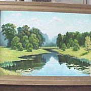SALE Vibrant Russian signed oil on canvas painting of a river landscape