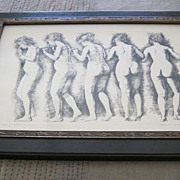 Nude etching of a woman dancing by Herbert Lewis Fink