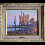 Gunter Horn pointillism oil on board painting of the Harvest Moon