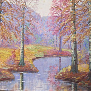 Vibrant oil on canvas Fall landscape painting by S. Critser