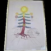 Original colored etching by Spanish surrealist Salvador Dali