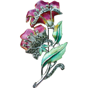 Sterling enamel pin dusted with marcasites on the flowers and stems