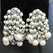 Multi strand simulated pearl and rhinestone rondell clip earrings