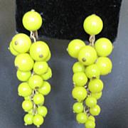 High Gloss painted yellow wood grape earrings
