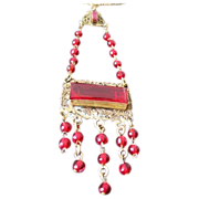 Czech long glass jeweled beaded necklace with dangles