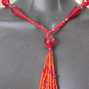 Vibrant RED glass beaded long necklace from the 1920's