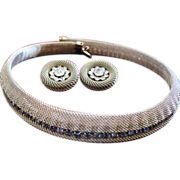 Vintage costume jewelry; gold plated mesh & rhinestone choker necklace and clip earrings