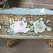 SALE Hand painted roses Nippon ferner with tin lining squeeze bag trim