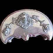 Wilcox Co. silver plate moon shaped Art Nouveau style jewel box