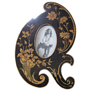 Arts & Crafts English Wood picture frame inlaid satinwood flowers