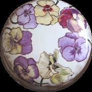 French Haviland Limoges handpainted pansy powder box