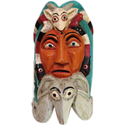 SOLD Vintage Mexican wooden Ceremonial Mask Animals