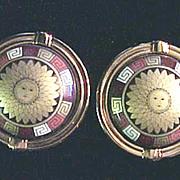 M.Frey Willie Roman Greco style Sun God clip earrings