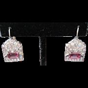 ART DECO 18k white gold Diamond & Pink Sapphire earrings