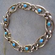 Turn of the last century 14k Rose gold turquoise bracelet