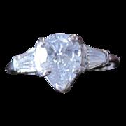 Pear shaped Platinum Diamond ENGAGEMENT Ring