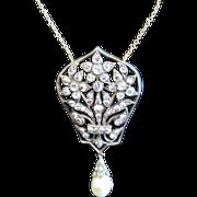 Mid European 18K necklace with pendant 1.35 ct. diamonds