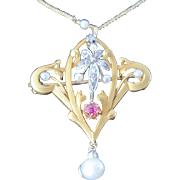 French Art Nouveau 18k pendant set with ruby, diamond & pearls