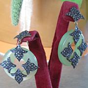 Retro pair of Chalcedony green earrings with diamonds