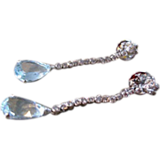 Vintage18k aquamarine and diamond dangle pierced earrings