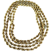 """Unisex14k yellow gold rope chain 68"""" long stamped on clasp"""