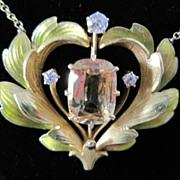 Enameled Art Nouveau yellow sapphire diamond necklace