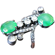 Art Nouveau 14k yellow gold  diamond and  jade cocktail ring
