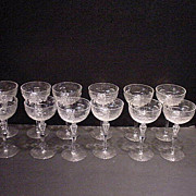 SOLD Rock Sharpe Countess Pattern 12 Cocktail Glasses