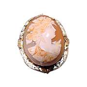14K Gold Carved  Carnelian Shell Cameo Brooch Pendant
