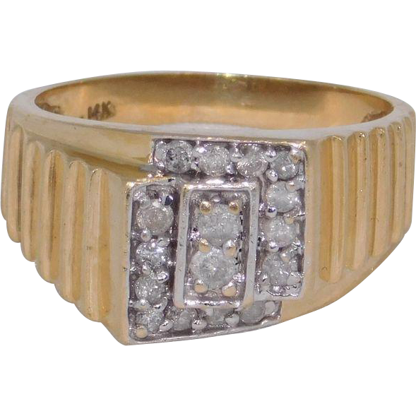 Man s Diamond 14 Karat Gold Ring