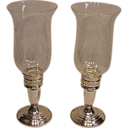 Two Sterling Candle Holders with Globes