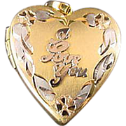 10k Gold and Silver I love you Locket