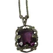Vintage Sterling Amethyst Pendant And Chain