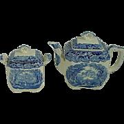 Mason's Vista Blue Transferware  Teapot And Matching Sugar Bowl