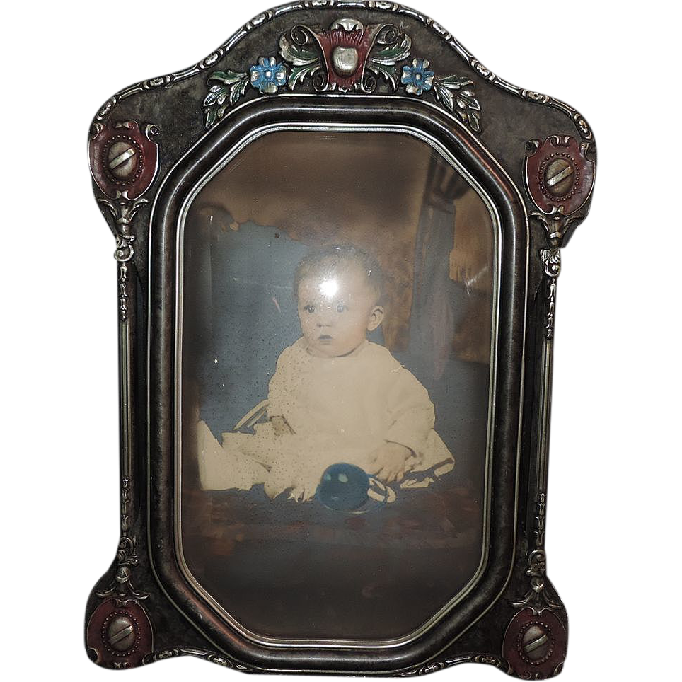 deco convex glass picture frame from susieantiques on