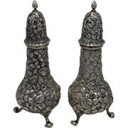 Heavily Carved Sterling Salt and Pepper Shakers
