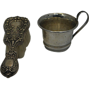 Child's Sterling cup and Hair Brush