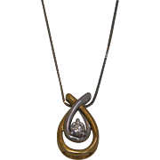 14k Gold  Silver And Diamond   Pendant With Chain