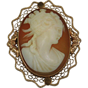 14K Yellow Gold 1920s Shell Carved Cameo Brooch /Pendant Artist Signed