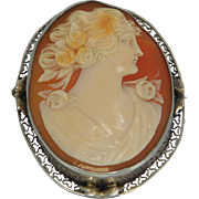Large 14K White Gold 1920's Shell Carved Cameo Brooch Pendant , Artist Signed