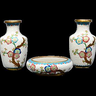Chinese Diaper Cloisonne 2 Vases with Center Bowl Set Jade Flower Design