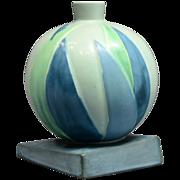 Roseville Futura Green Bamboo Leaf Ball Globe Vase  w/label, #387-7, Ca 1924