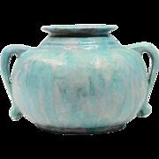 REDUCED Roseville Pottery Blue Lavender Green Frothy Glaze Carnelian II Squat Vessel, #333-6,