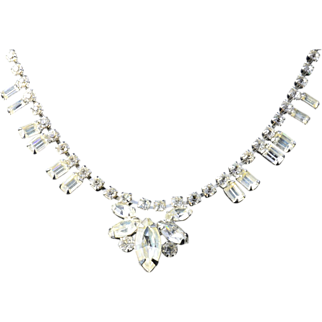 Weiss Silver Tone Rhinestone Teardrop Necklace 15 inches