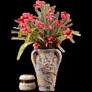 Weller Pottery 1920s Dogwood Silvertone Vase Artist Signed Dorothy England