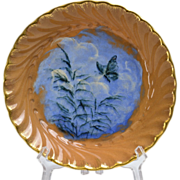Rookwood Pottery 1885 Butterfly on Blue Background w/ Tall Grass Porridge Saucer Bowl