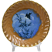 Rookwood Pottery 1885 Sparrow on Blue Background Flying to Grass Porridge Saucer Bowl