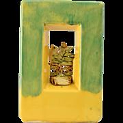 1951 McCoy Pottery Arcature Green Yellow Tall Planter w/White Bird
