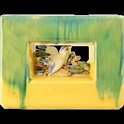 1951 McCoy Pottery Arcature Green Yellow Rectangle Planter w/White Bird